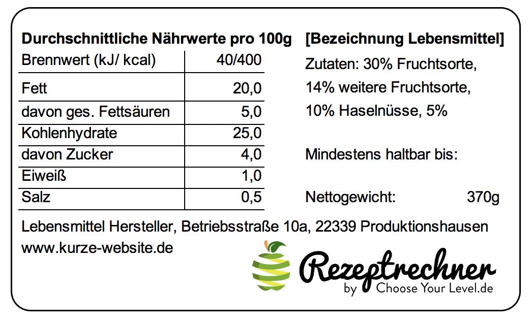Big7 Nährwertkennzeichnung für Lebensmittel