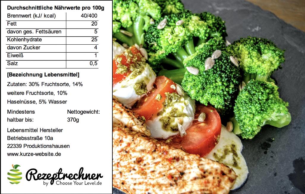 Kalorien Berechnen für Mahlzeit bzw. Essen