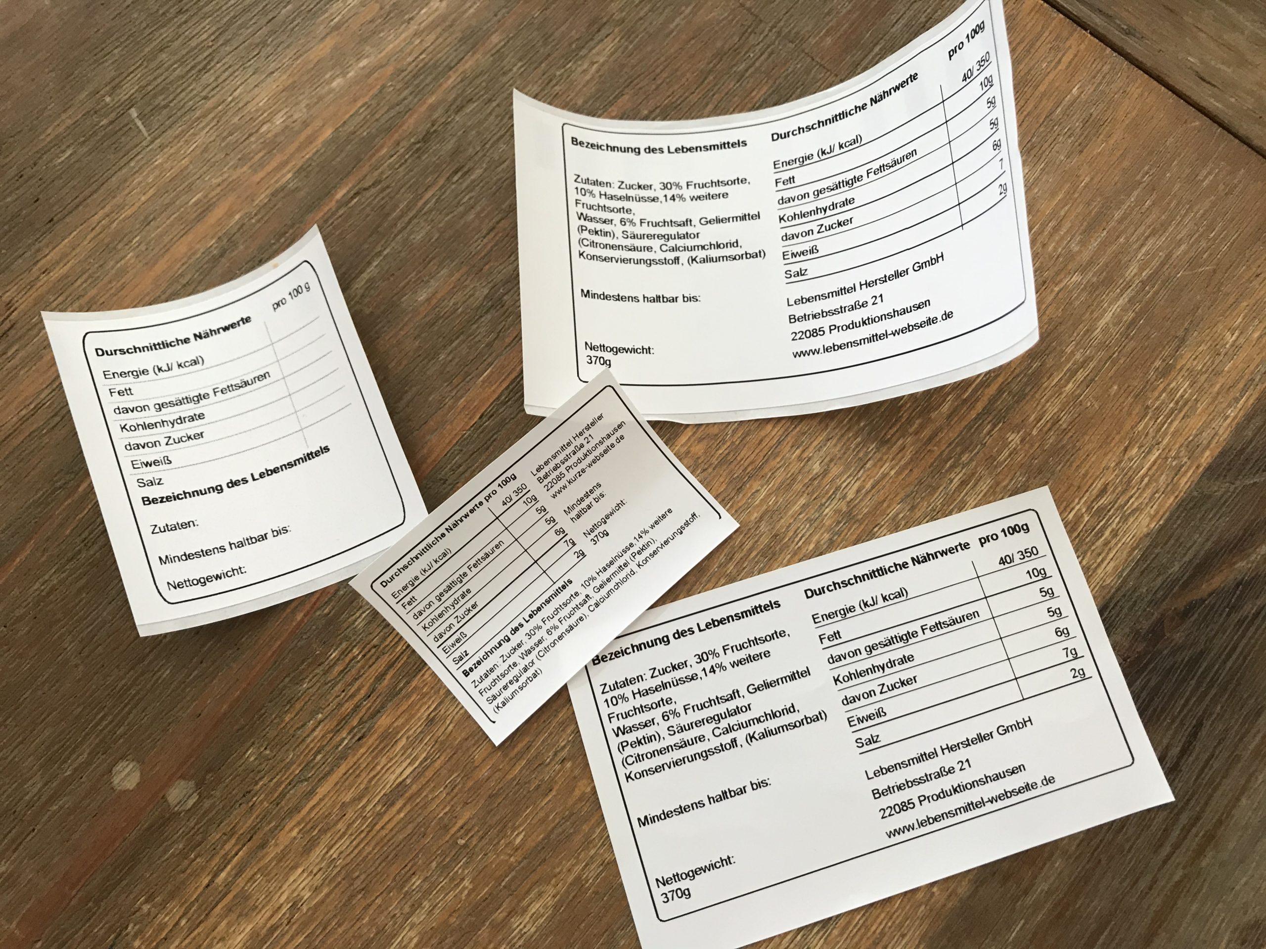 Lebensmittelkennzeichnung Nährwerttabelle