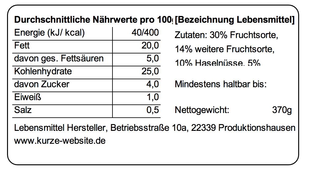 Lebensmittelkennzeichnungspflicht für Etiketten