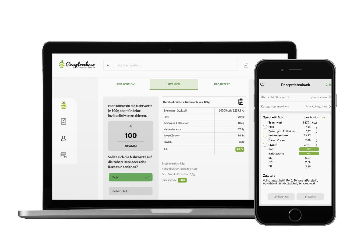 Rezeptrechner App zum Broteinheiten Berechnen bei Diabetes