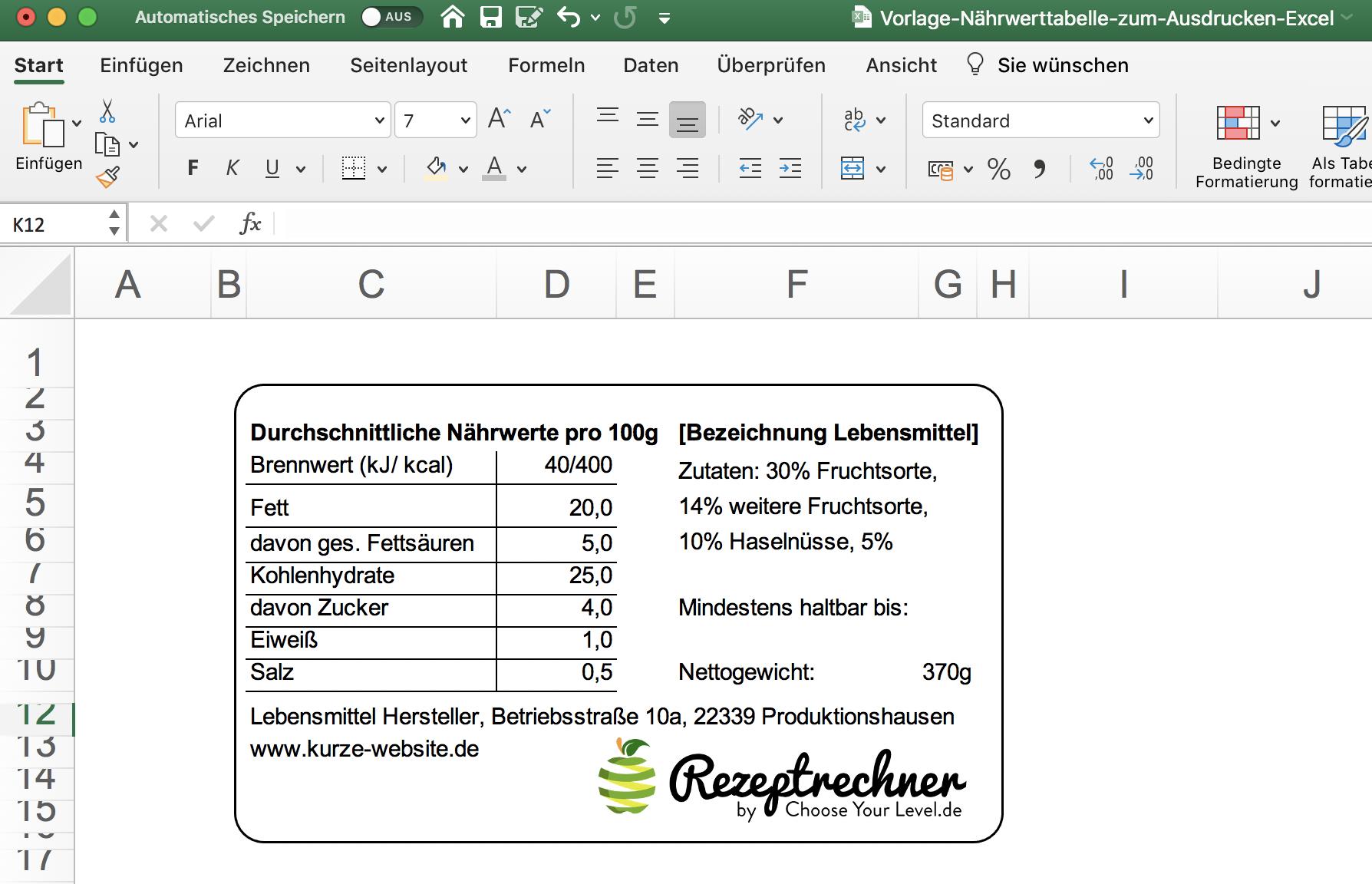 Nährwerttabelle Excel