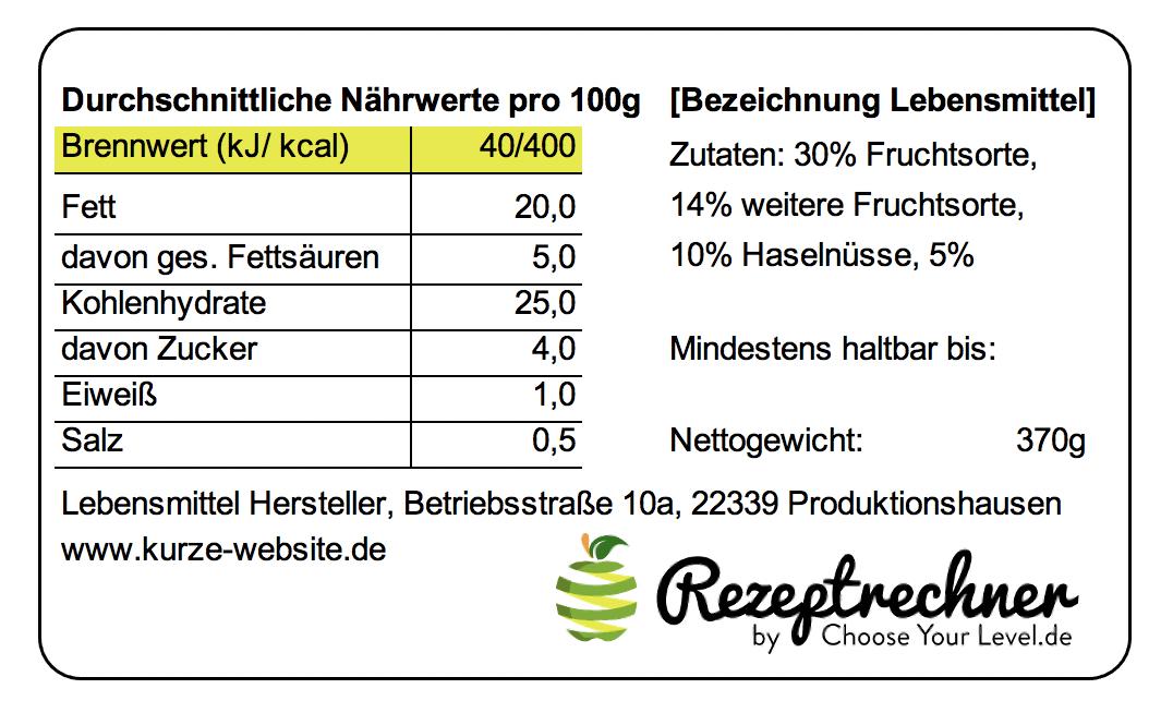 Brennwert Berechnen für Lebensmittel