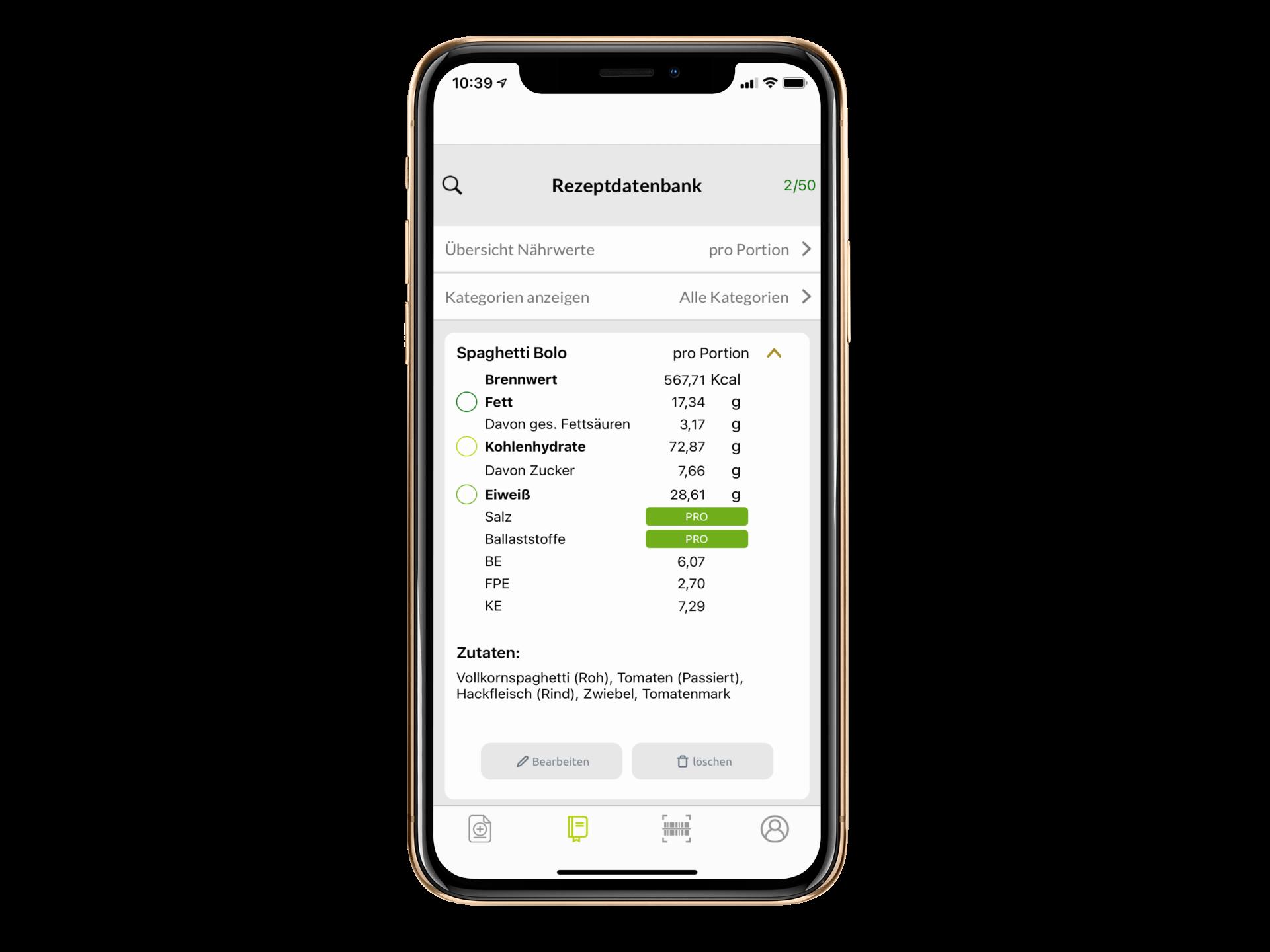BLS Datenbank in der Rezeptrechner App